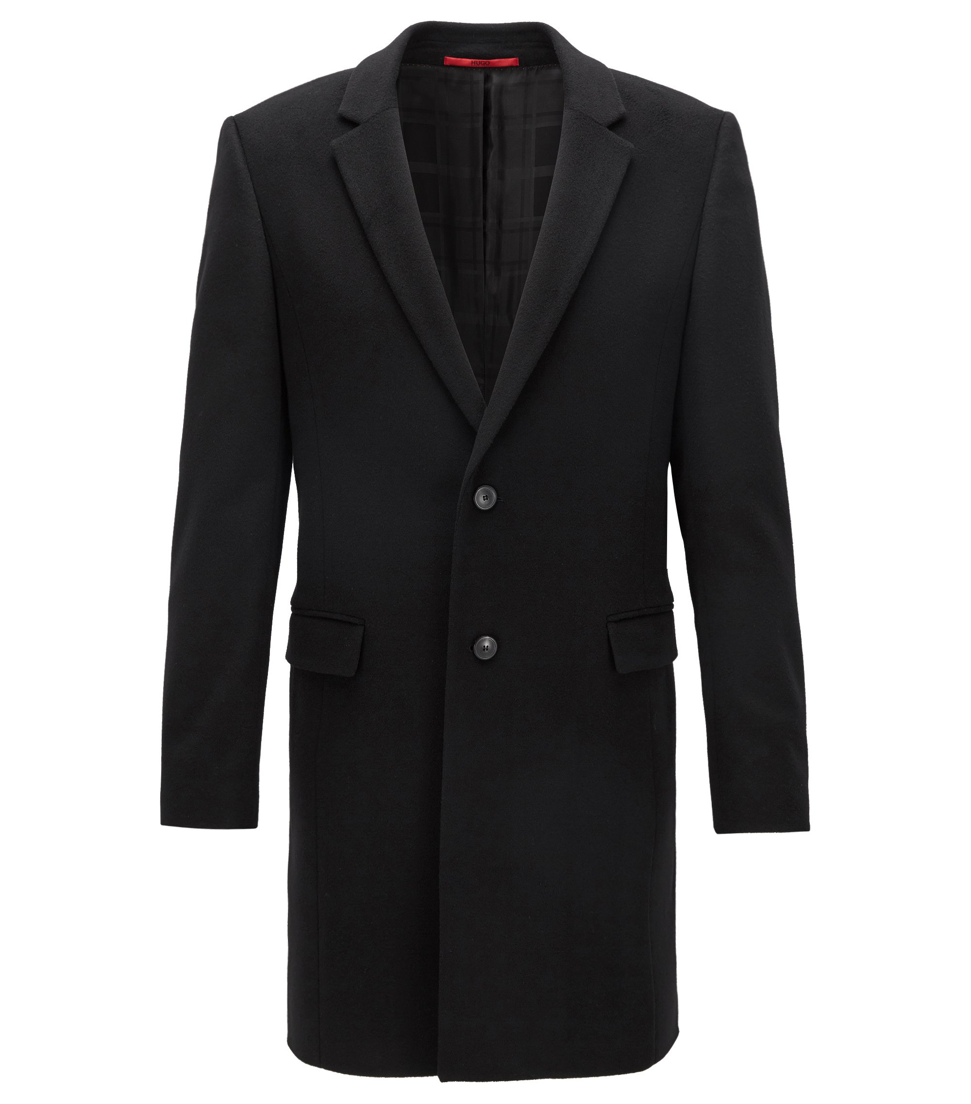 Extra-slim-fit coat in pure cashmere, Black