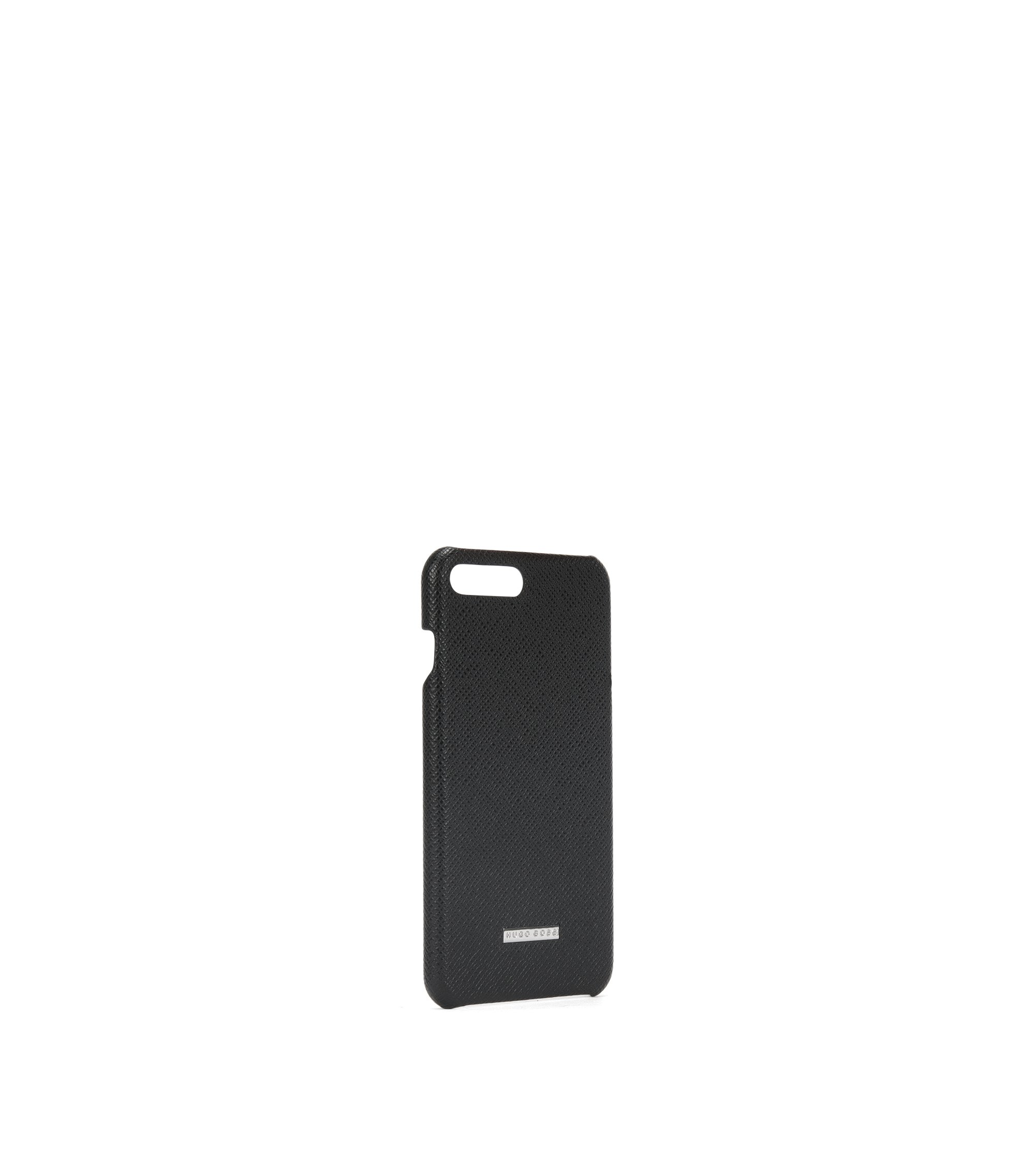 Signature Collection smartphone case in textured palmellato leather, Black