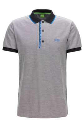 Slim-fit logo polo shirt in cotton piqué, Grey