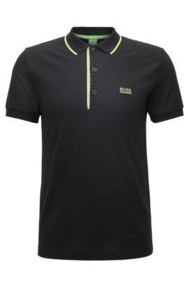 Polo Slim Fit en piqué de coton avec logo, Noir