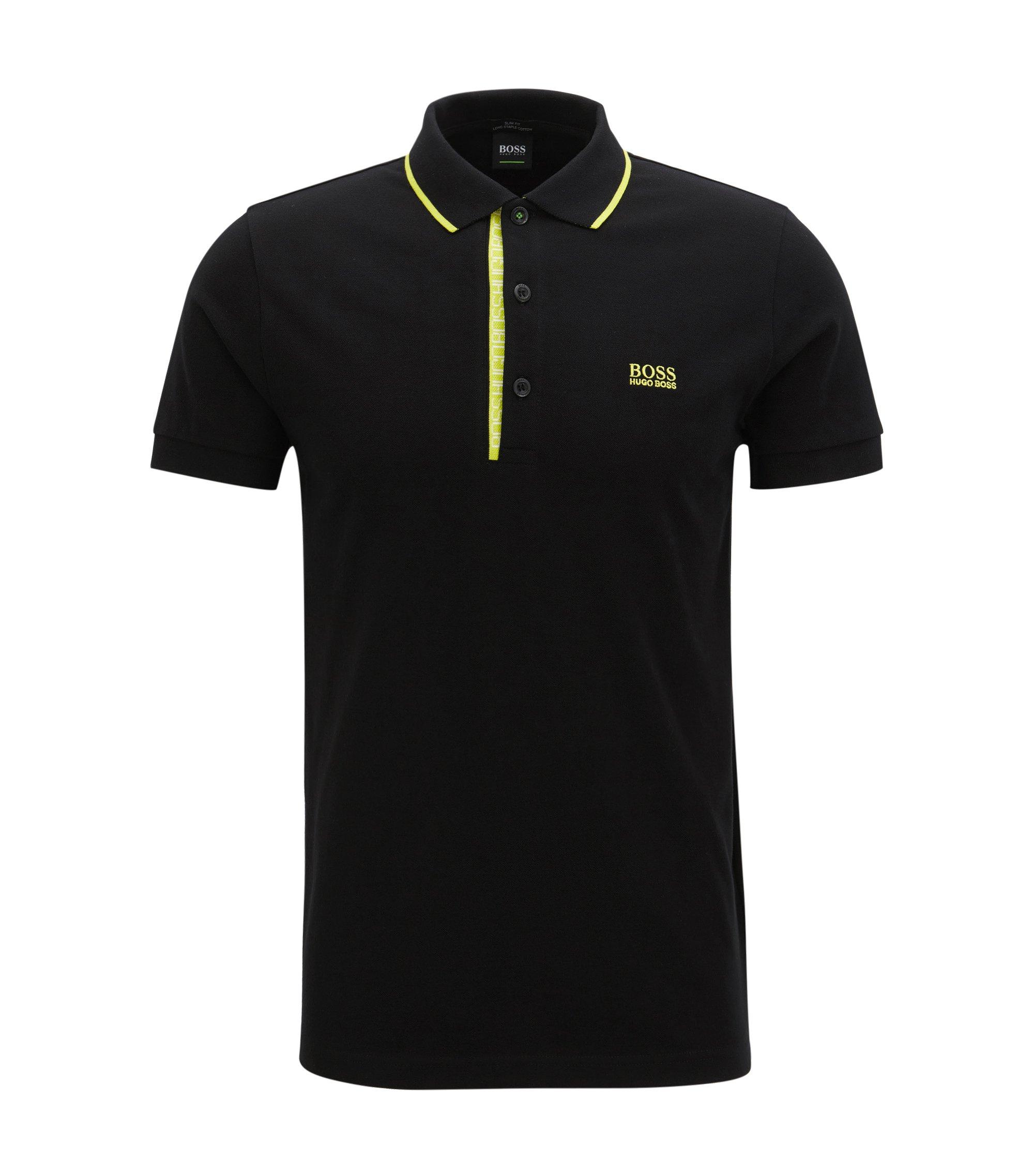 Slim-Fit Poloshirt aus Baumwoll-Piqué mit Logo-Detail, Schwarz