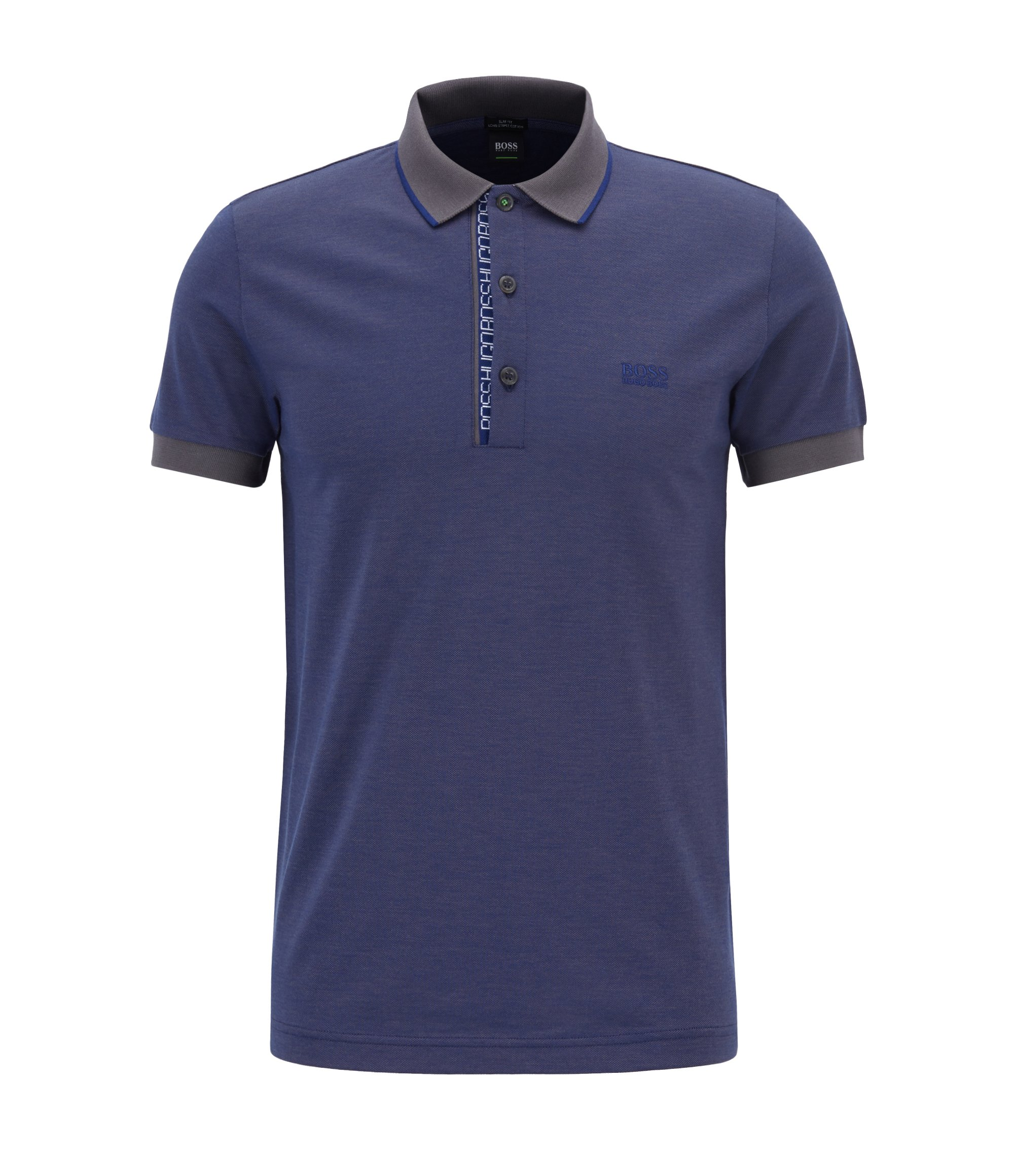 Slim-fit logo polo shirt in cotton piqué, Dark Purple