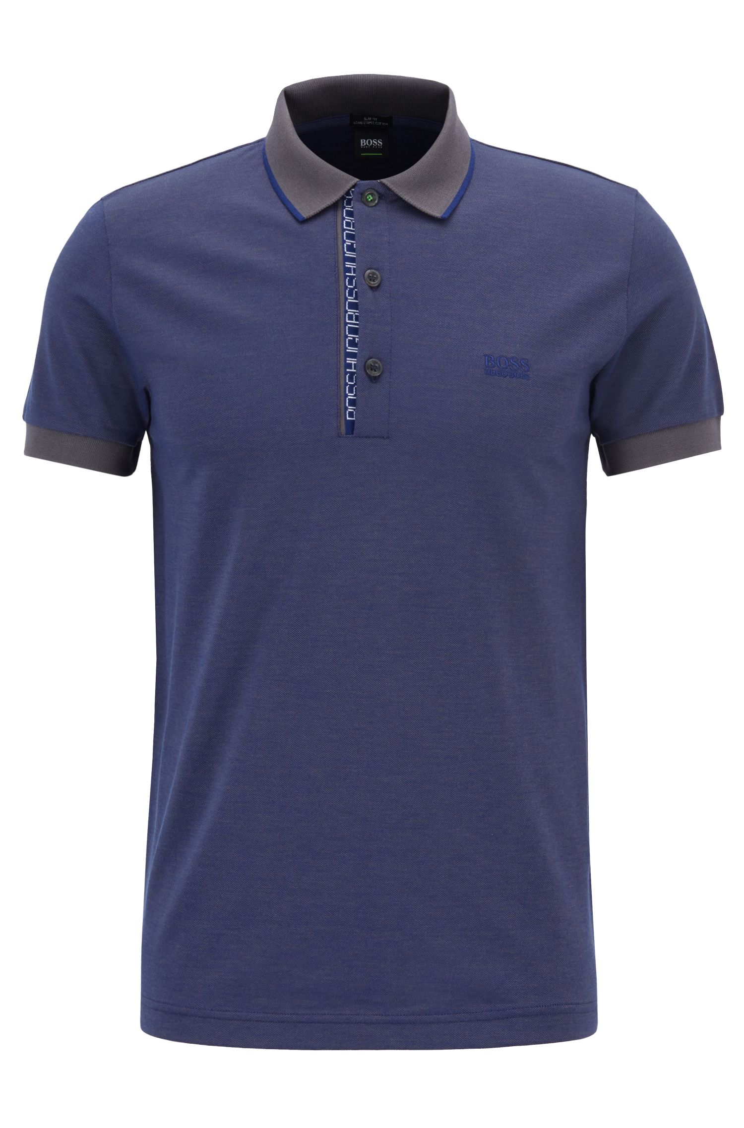 Slim-Fit Poloshirt aus Baumwoll-Piqué mit Logo-Detail, Dunkel Lila