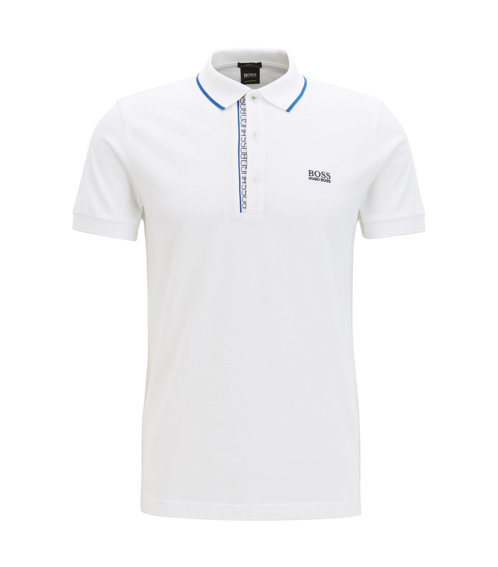 Slim-Fit Poloshirt aus Baumwoll-Piqué mit Logo-Detail, Natur