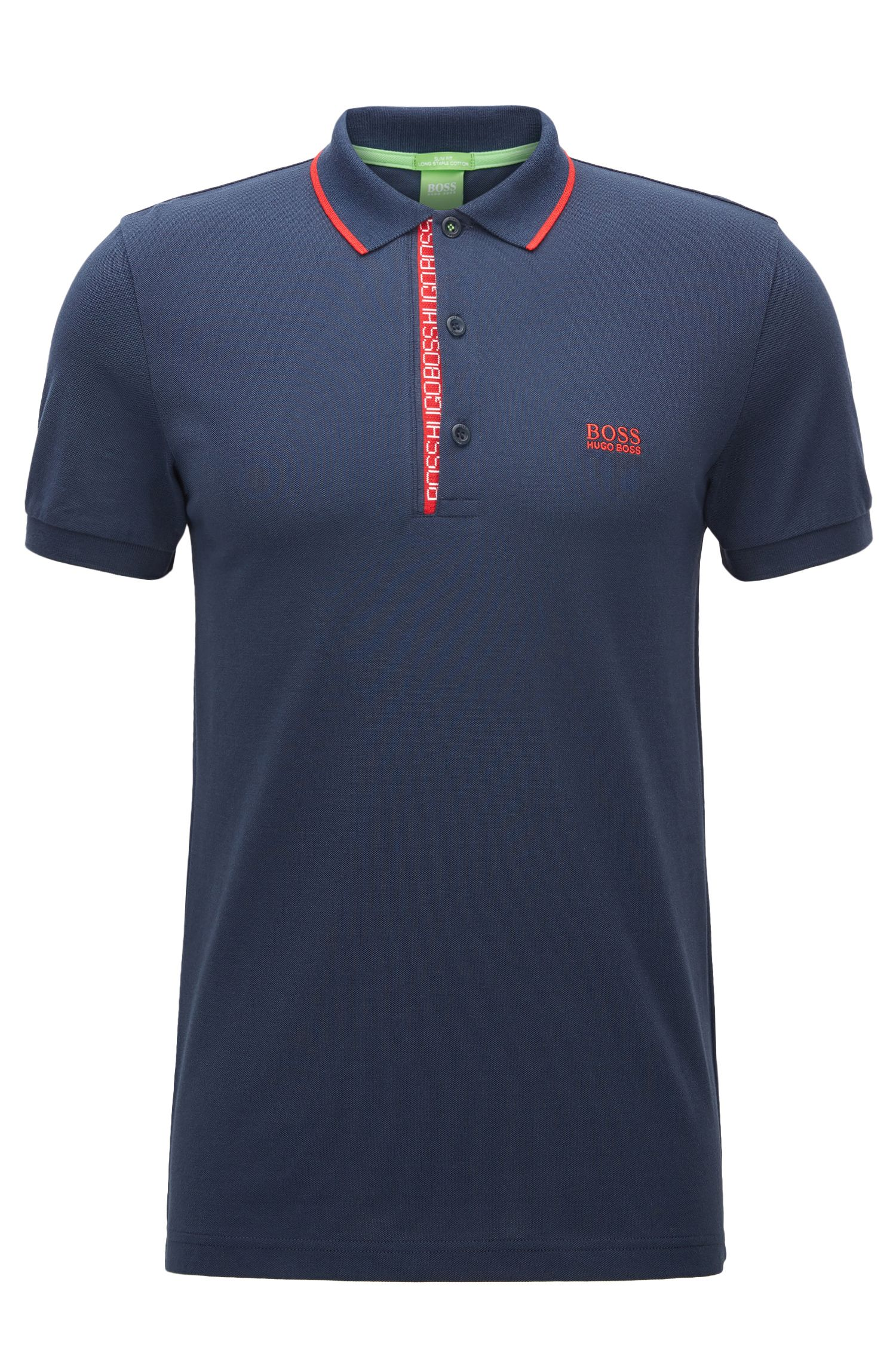 Polo slim fit in piqué di cotone con logo