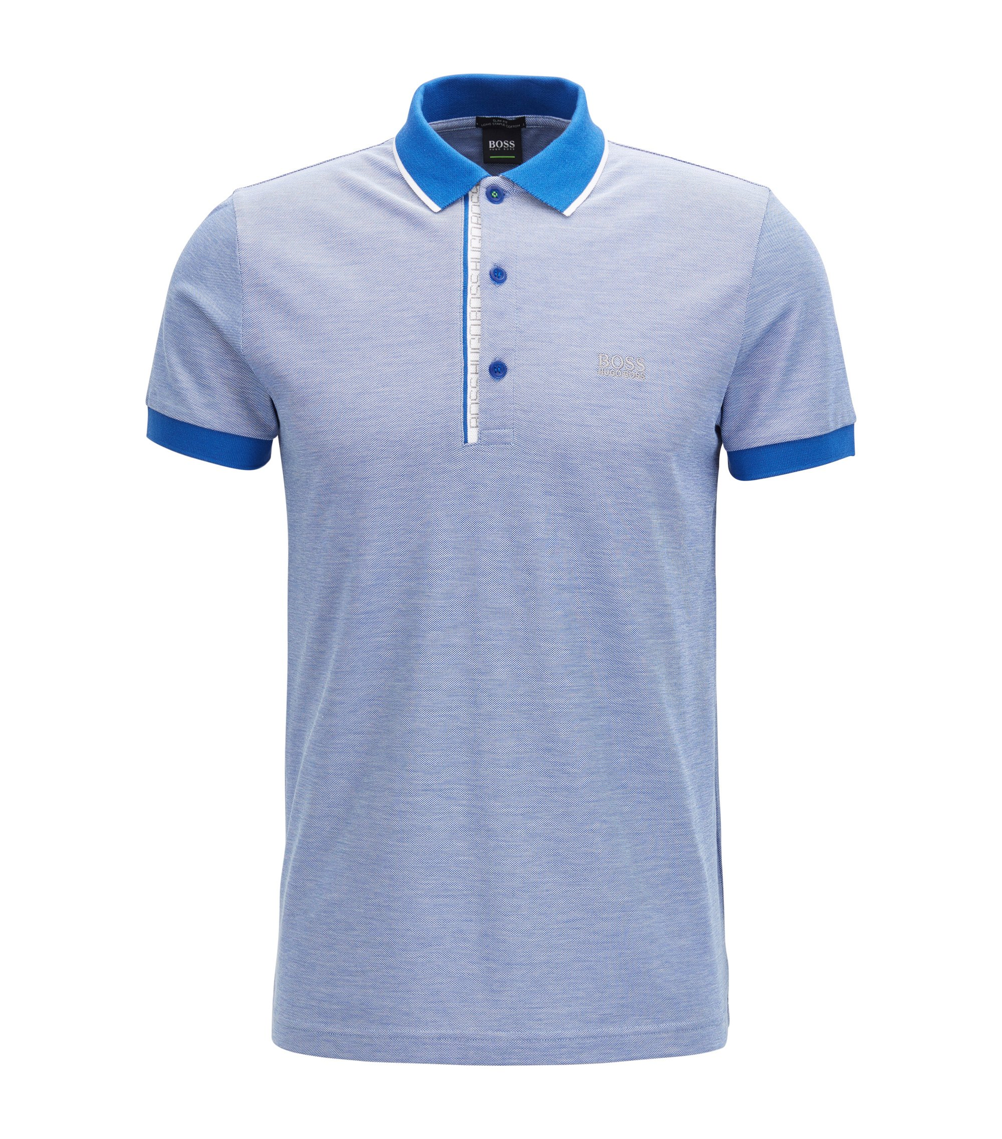 Slim-Fit Poloshirt aus Baumwoll-Piqué mit Logo-Detail, Blau