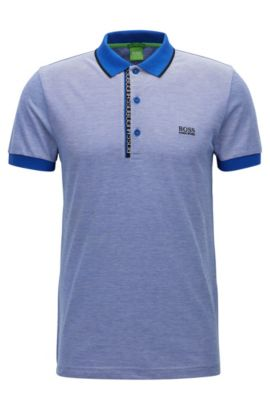 Polo slim fit in piqué di cotone con logo, Blu