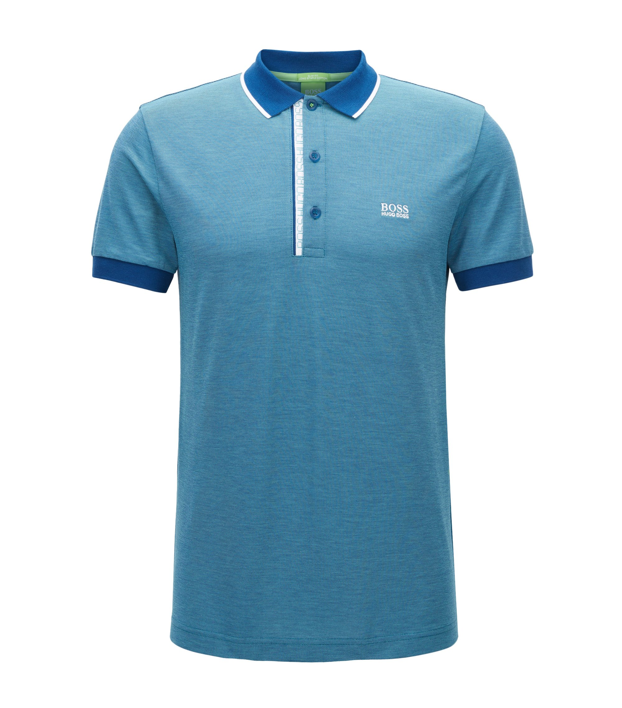 Slim-fit logo polo shirt in cotton piqué, Turquoise