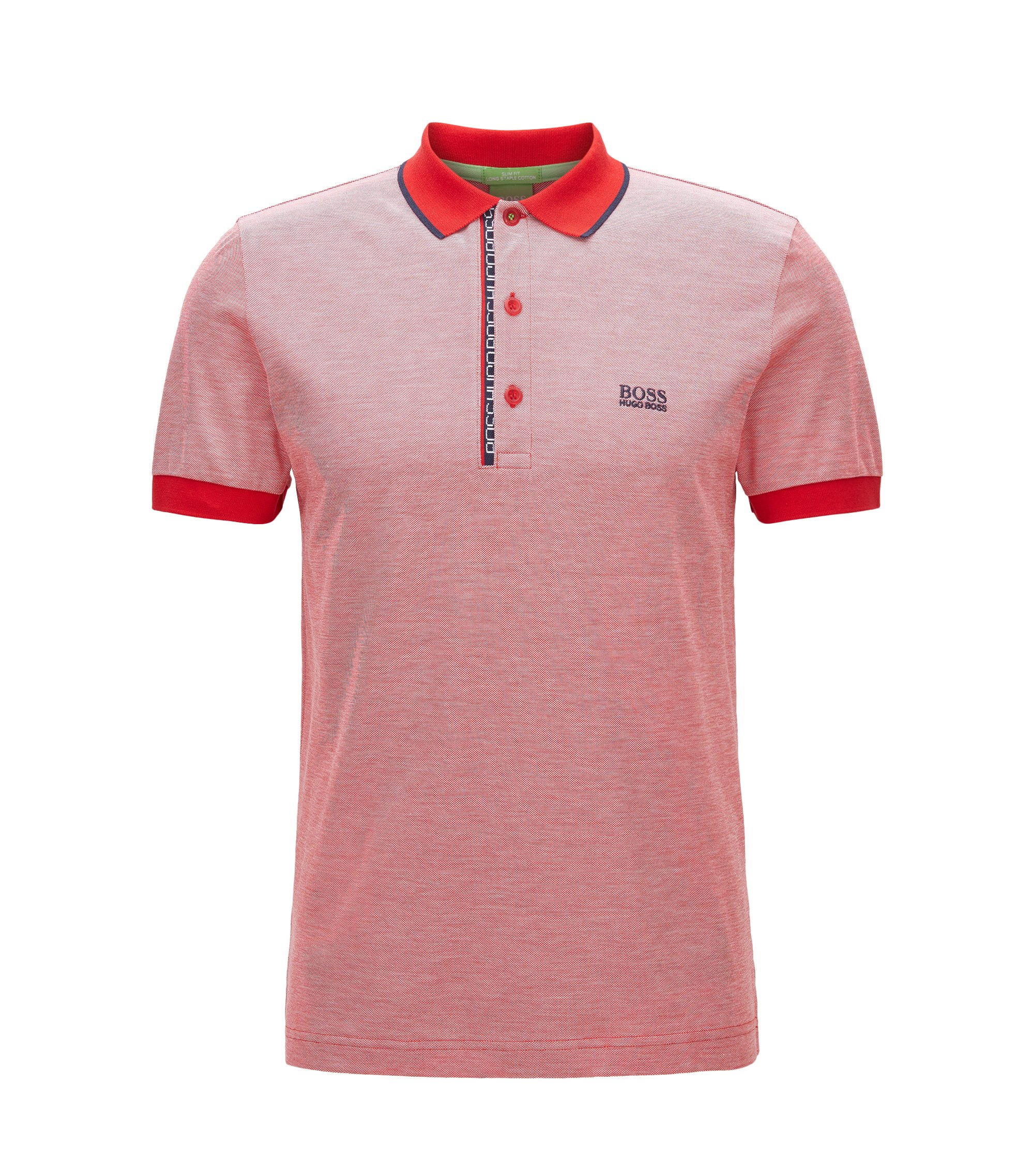 Slim-Fit Poloshirt aus Baumwoll-Piqué mit Logo-Detail, Rot
