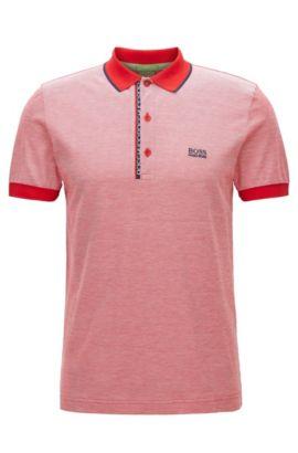 Polo Slim Fit en piqué de coton avec logo, Rouge