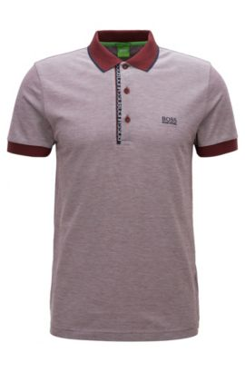 Slim-fit logo polo shirt in cotton piqué, Dark Red