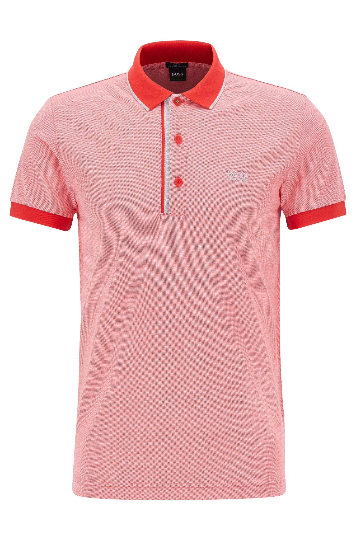 Slim-fit logo polo shirt in cotton piqué, Red