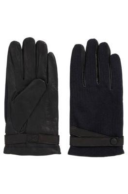 Gants en cuir avec panneaux en tissu contrastant, Noir
