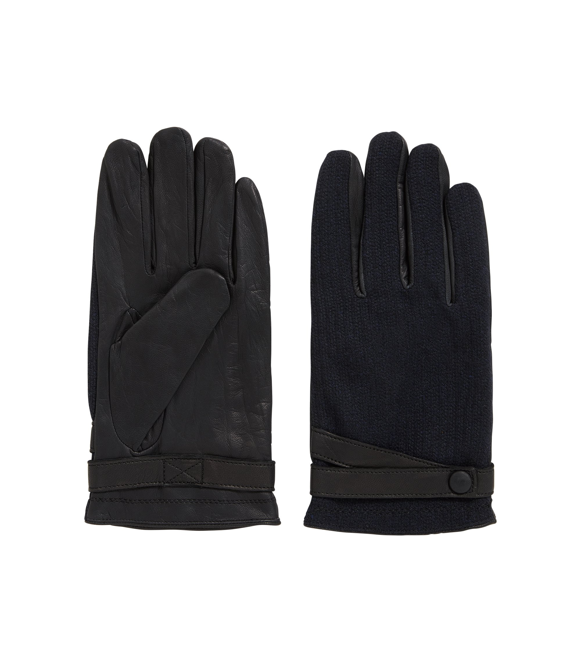 Leather gloves with contrast fabric panels, Black