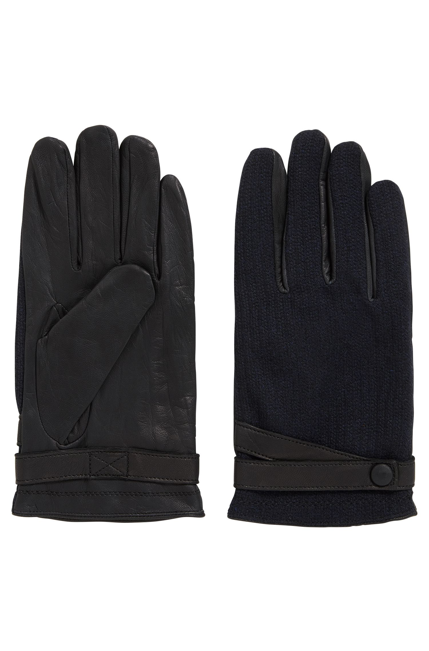 Leather gloves with contrast fabric panels
