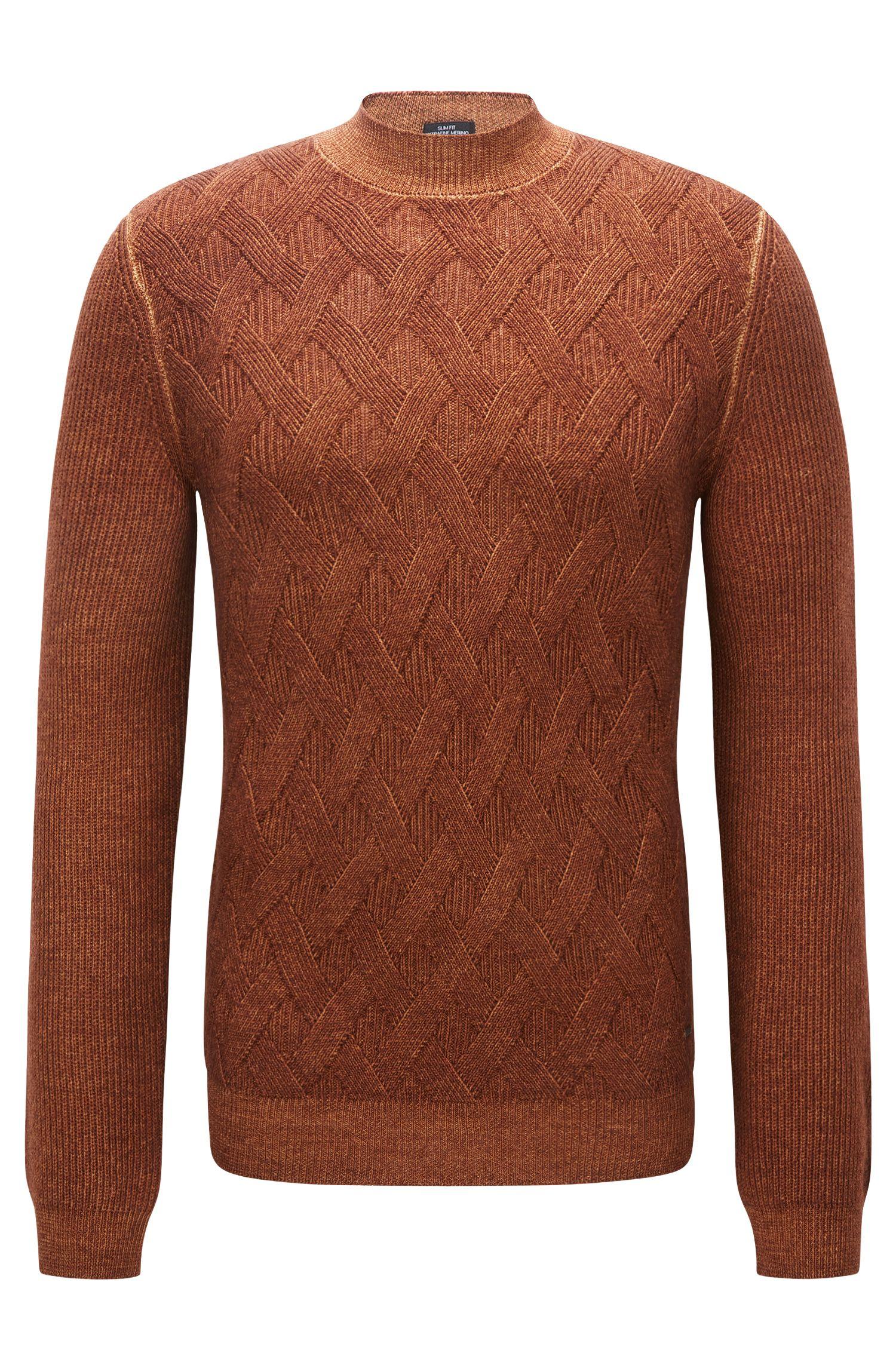 Aran-pattern sweater in virgin wool