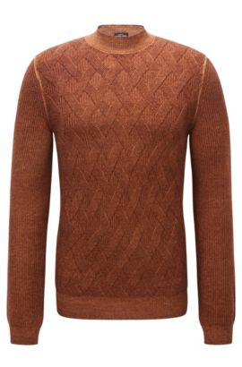 Aran-pattern sweater in virgin wool, Brown