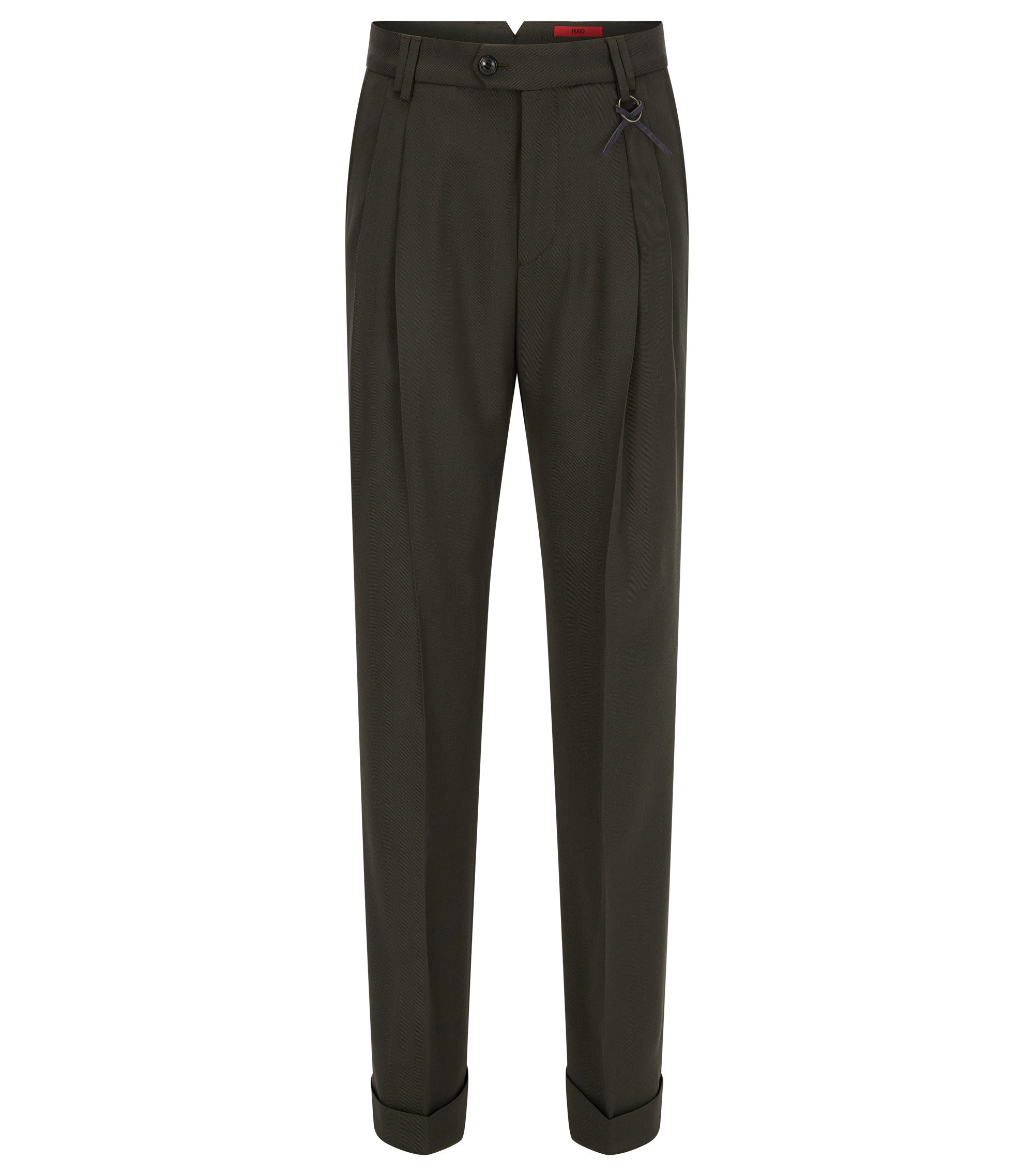 Wide-leg trousers in a wool blend, Dark Green