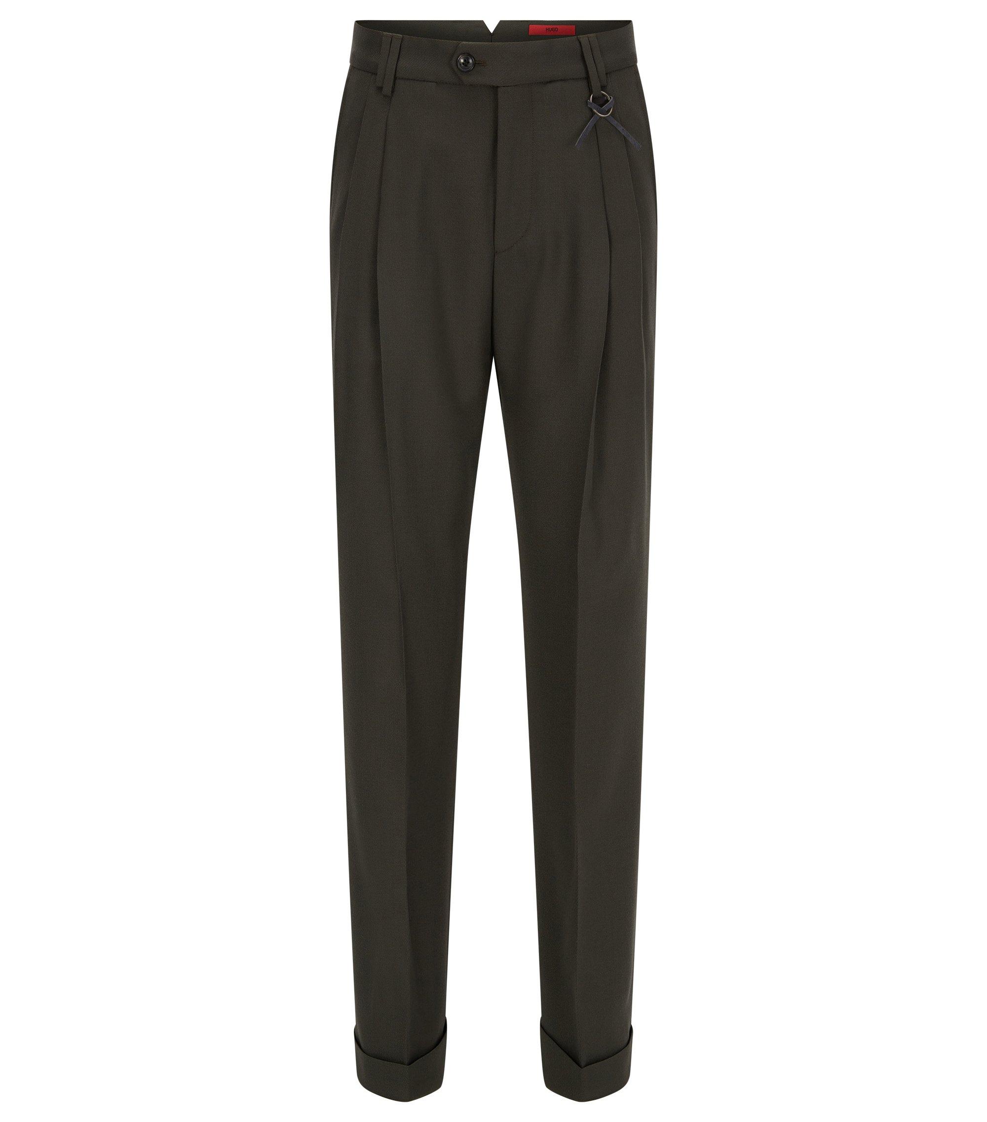 Relaxed-Fit Hose aus elastischem Woll-Mix, Dunkelgrün