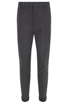 Extra slim-fit broek in een twill van washed stretchkatoen, Antraciet
