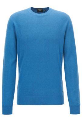 Maglione lavorato con la tecnica back print in lana vergine italiana, Blu