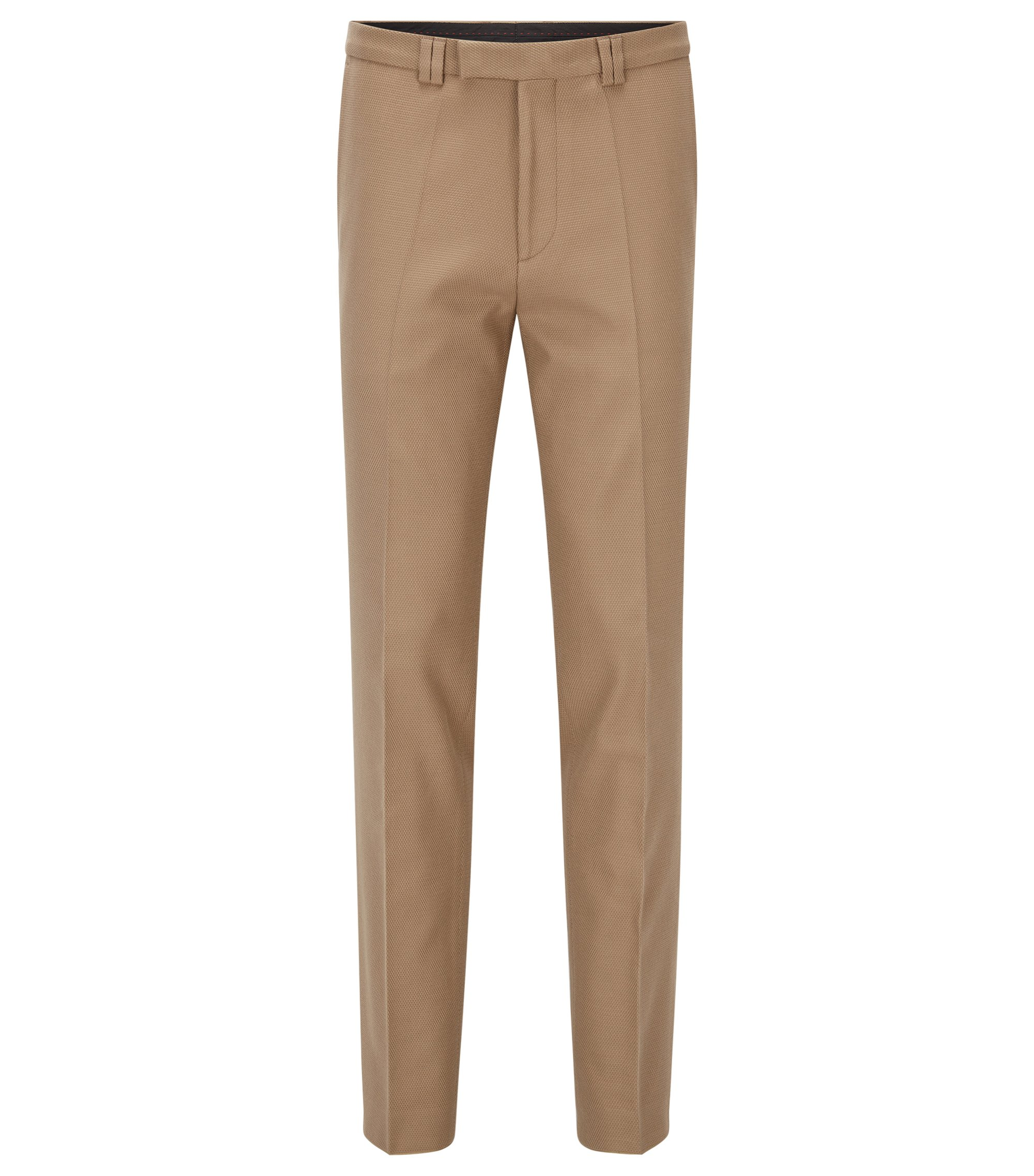 Extra-slim-fit trousers in waffle stretch cotton, Light Beige