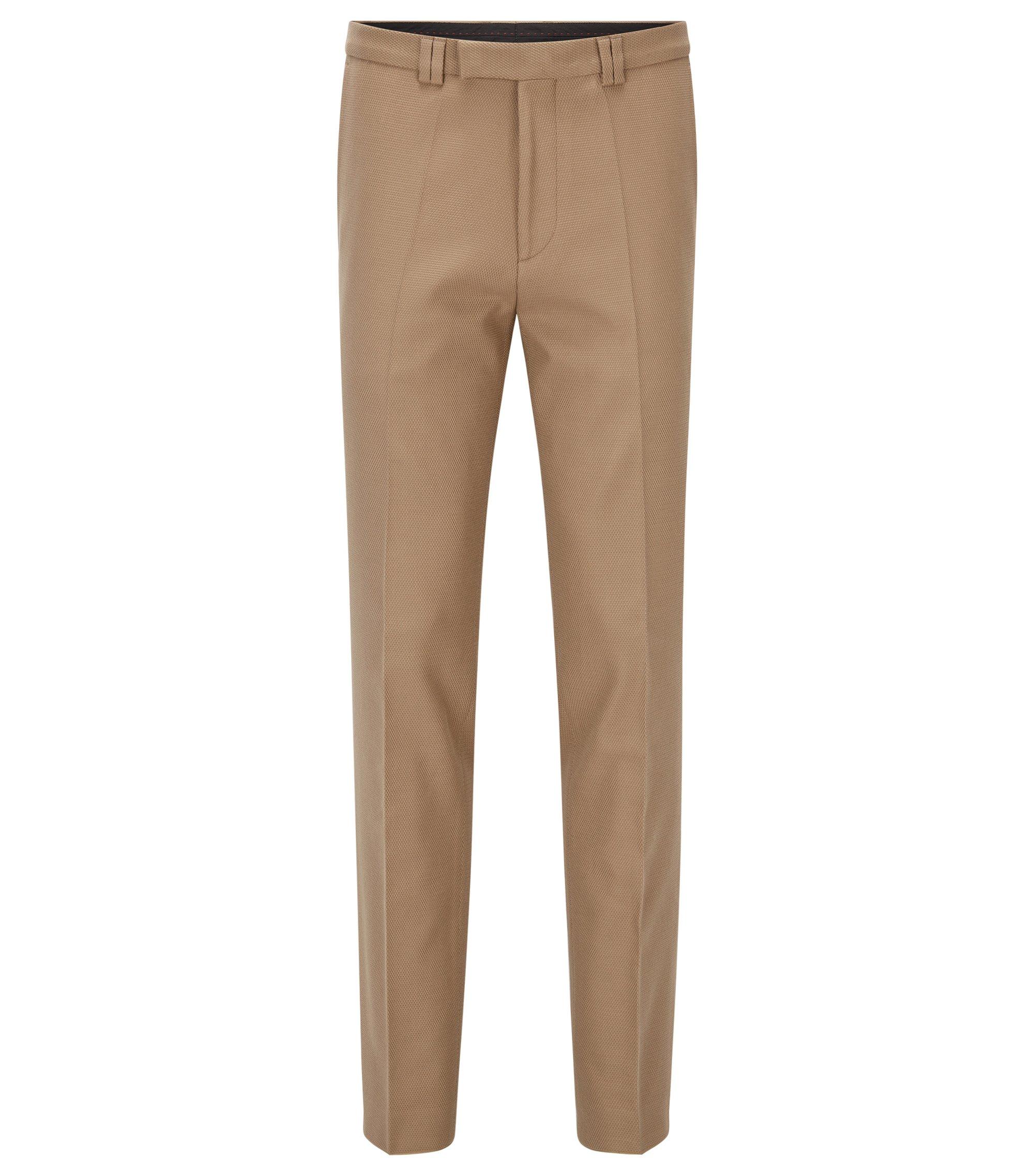 Pantaloni extra slim fit in cotone elasticizzato waffle, Beige chiaro