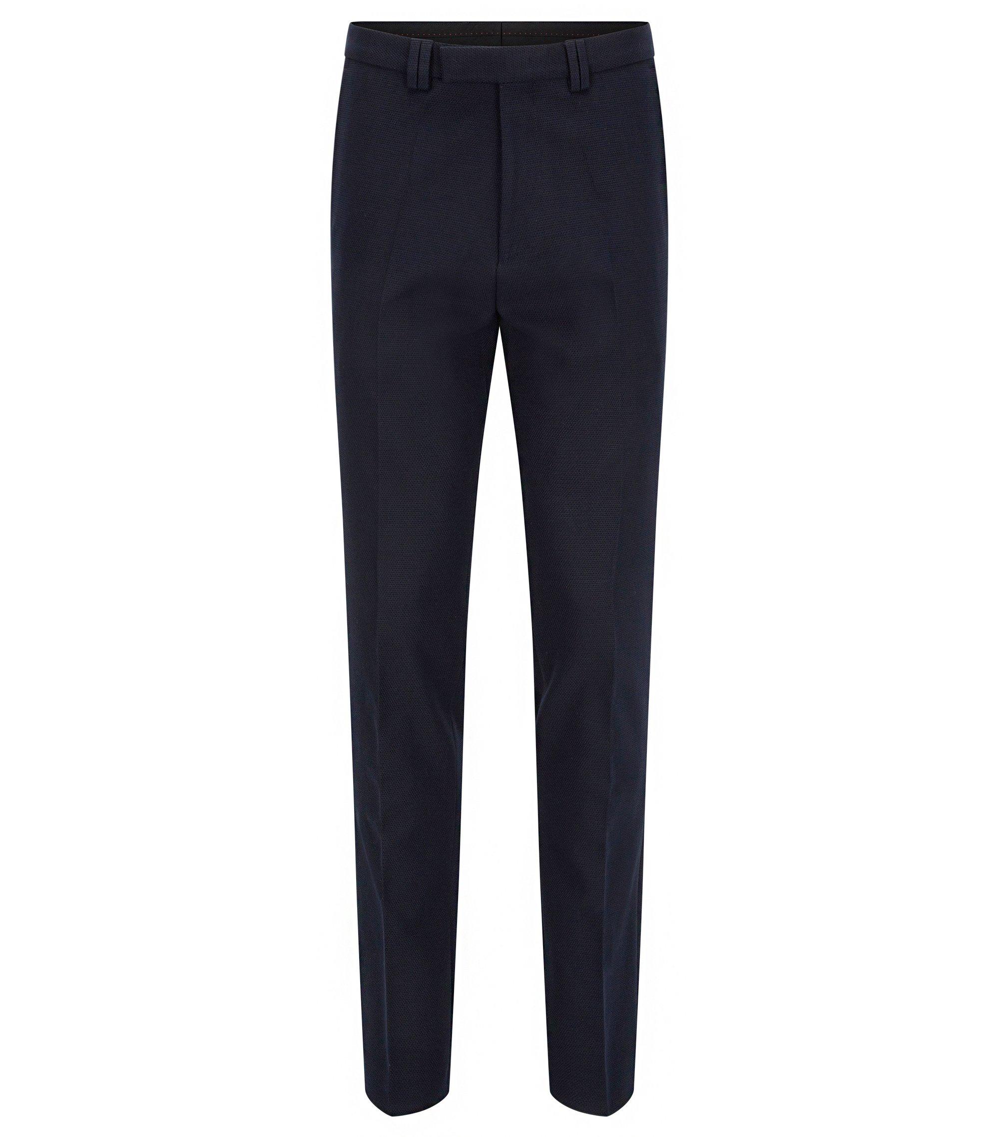 Extra Slim-Fit Hose aus Stretch-Baumwolle mit Waffelstruktur, Dunkelblau