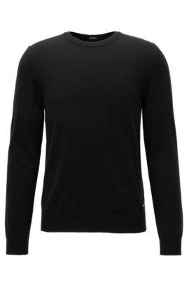 Leichter Regular-Fit Pullover aus italienischem Kaschmir, Schwarz