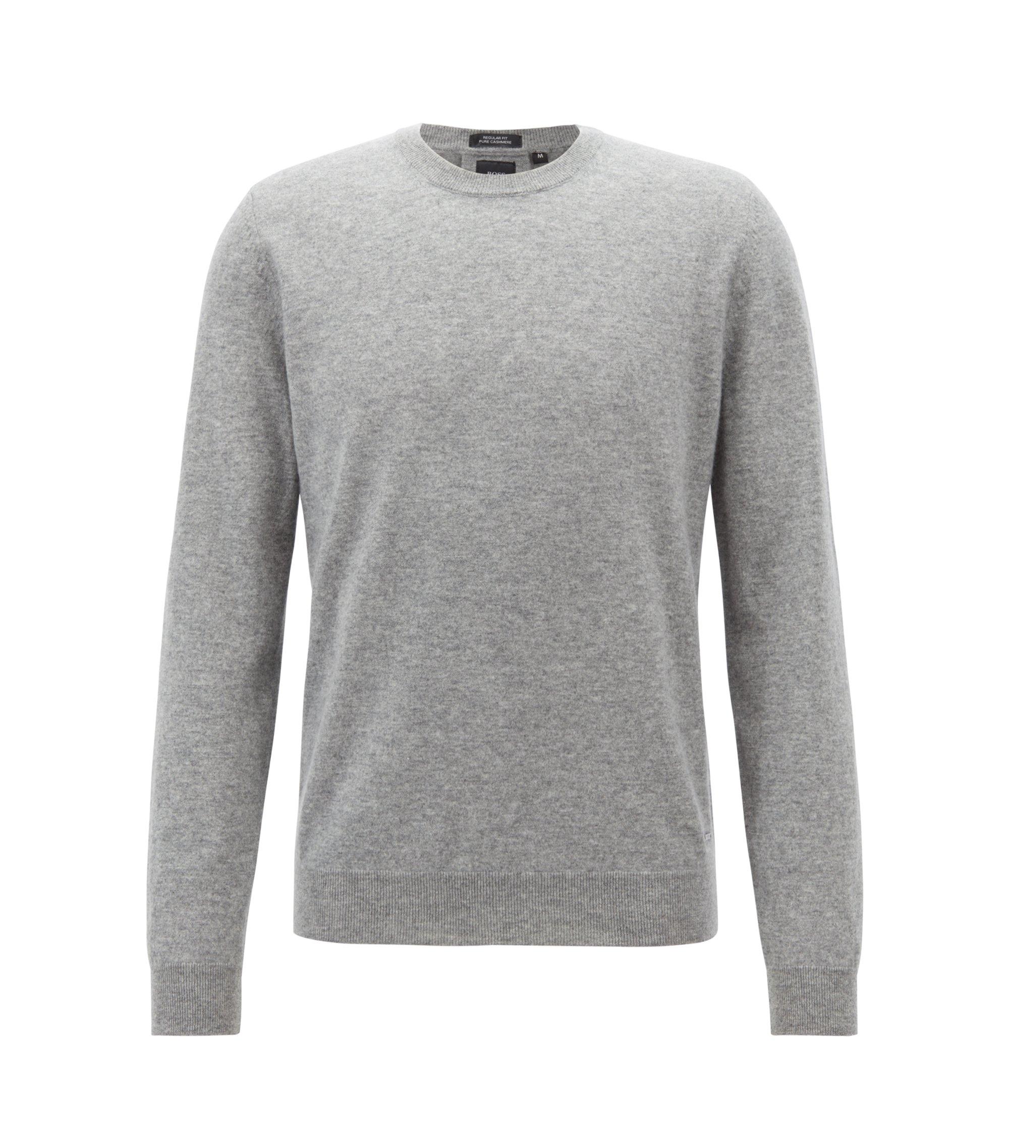Leichter Regular-Fit Pullover aus italienischem Kaschmir, Silber