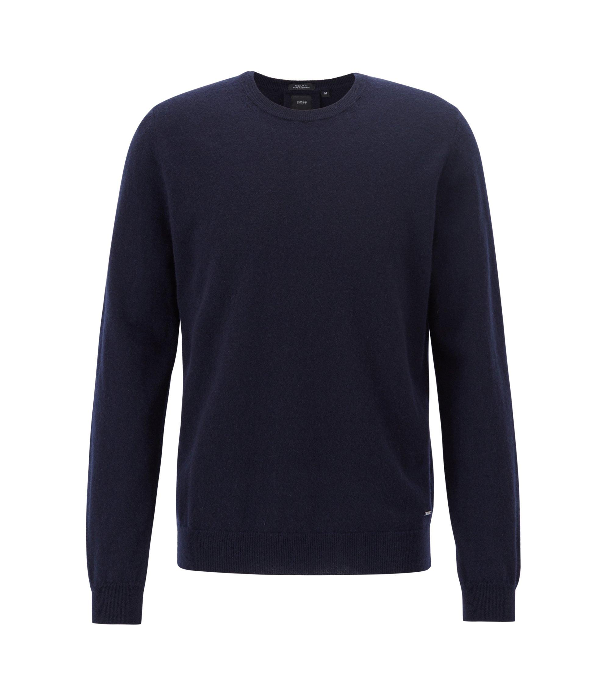 Lightweight sweater in Italian cashmere, Dark Blue