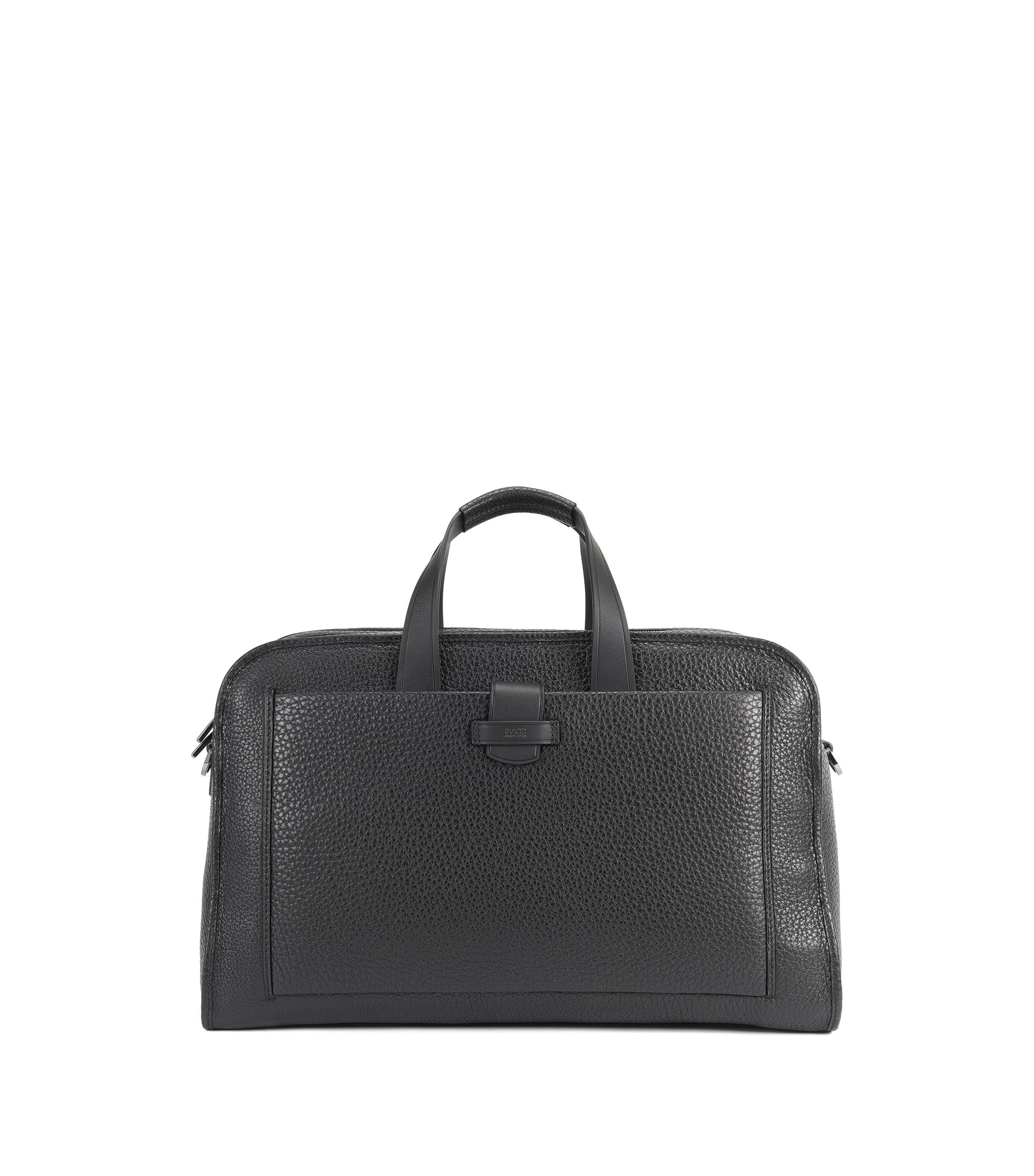 Weekend bag in grained leather, Black