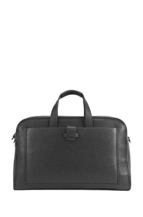 Weekend bag in grained leather, Black