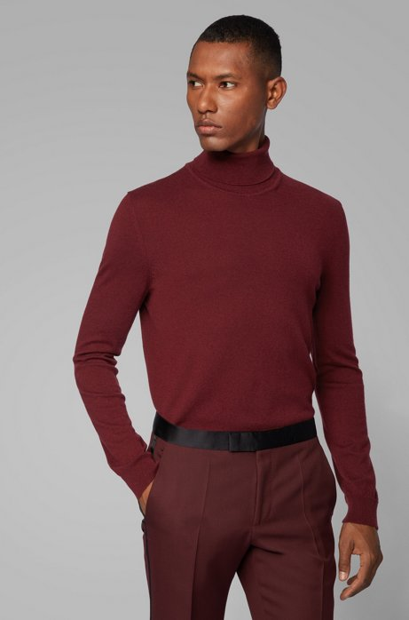 Turtleneck sweater in lightweight Italian cashmere, Dark Red
