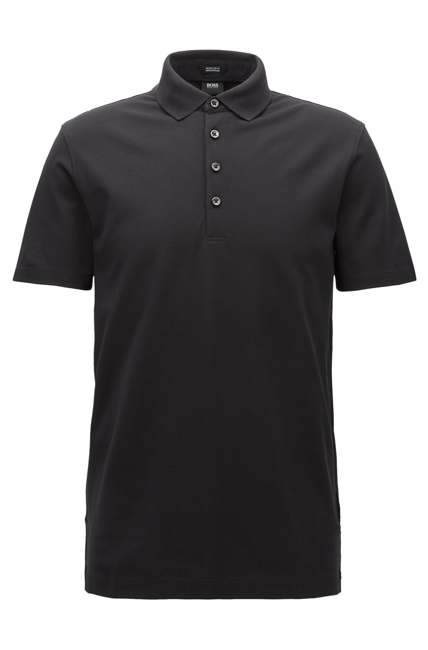 Polo regular fit en algodón de piqué mercerizado