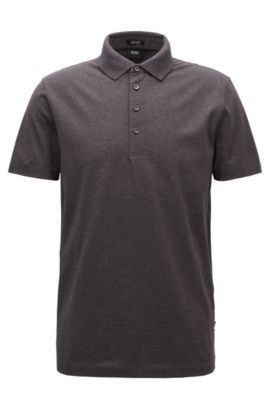 Regular-fit polo shirt in mercerised piqué cotton, Anthrazit