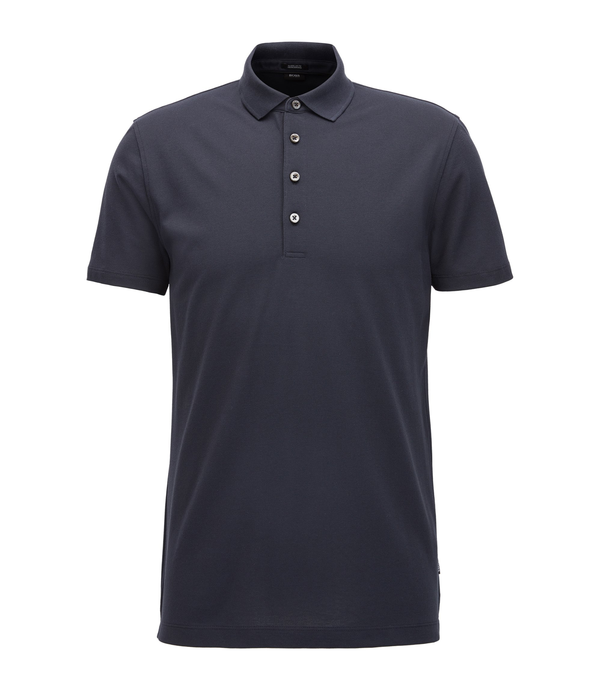 Regular-fit polo shirt in mercerised piqué cotton, Dark Blue