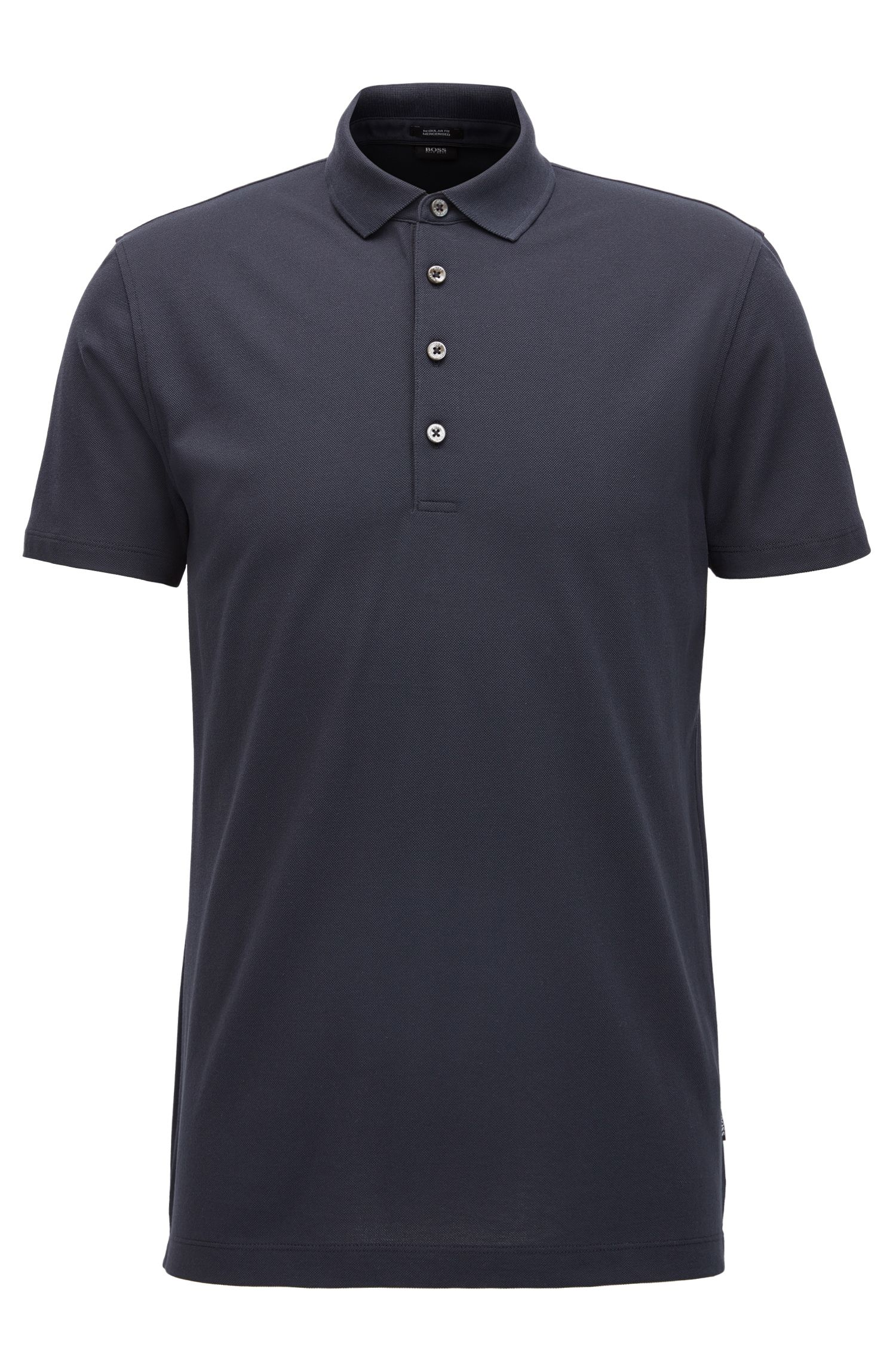 Regular-fit polo shirt in mercerised piqué cotton