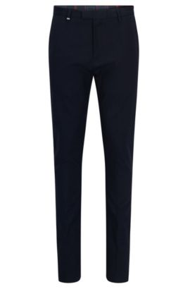 Tapered-fit trousers in stretch gabardine, Dark Blue