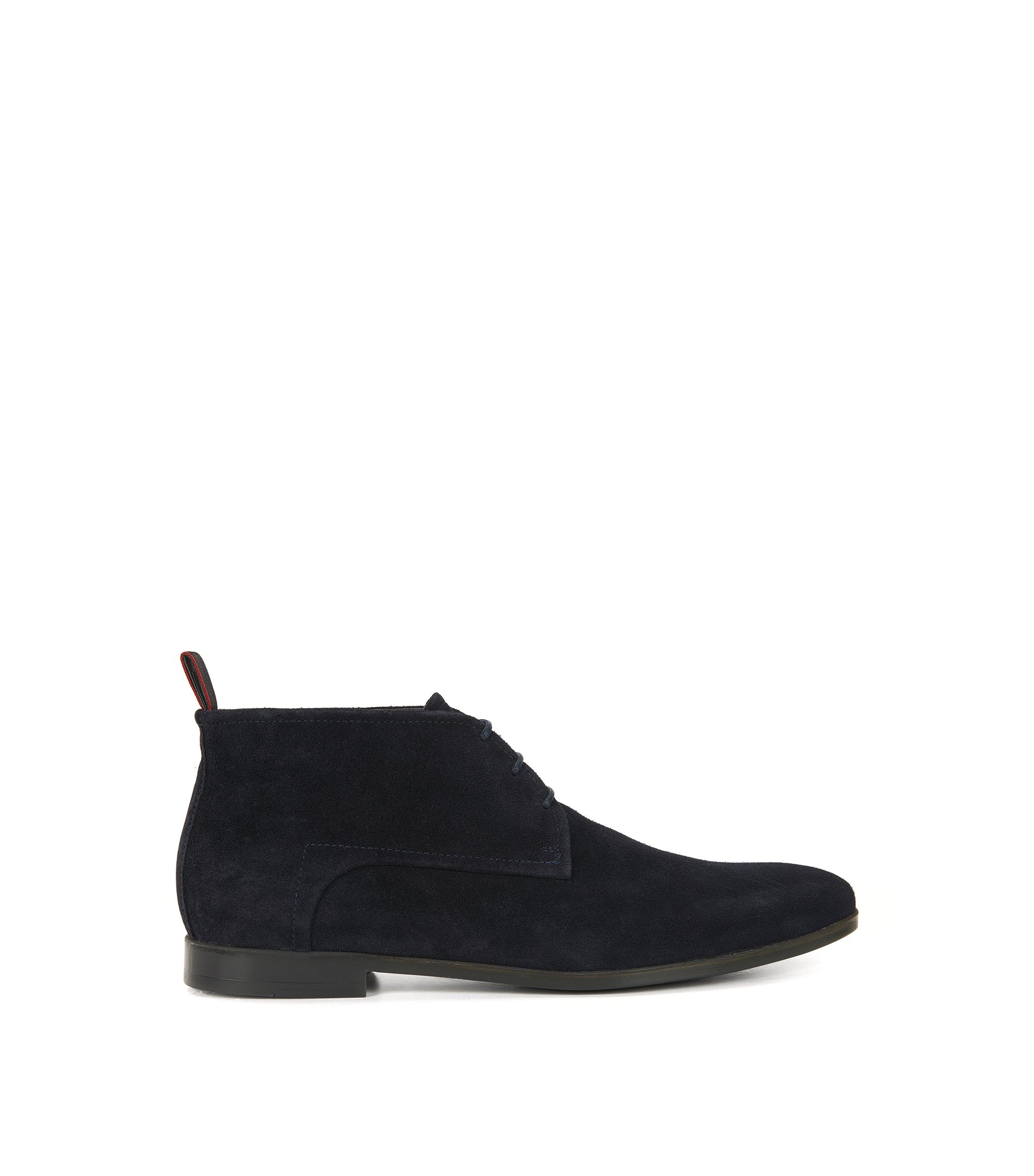 Suede desert boots with leather lining, Dark Blue