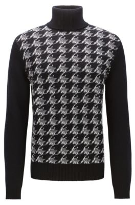 Houndstooth knitted jacquard turtle-neck sweater, Patterned