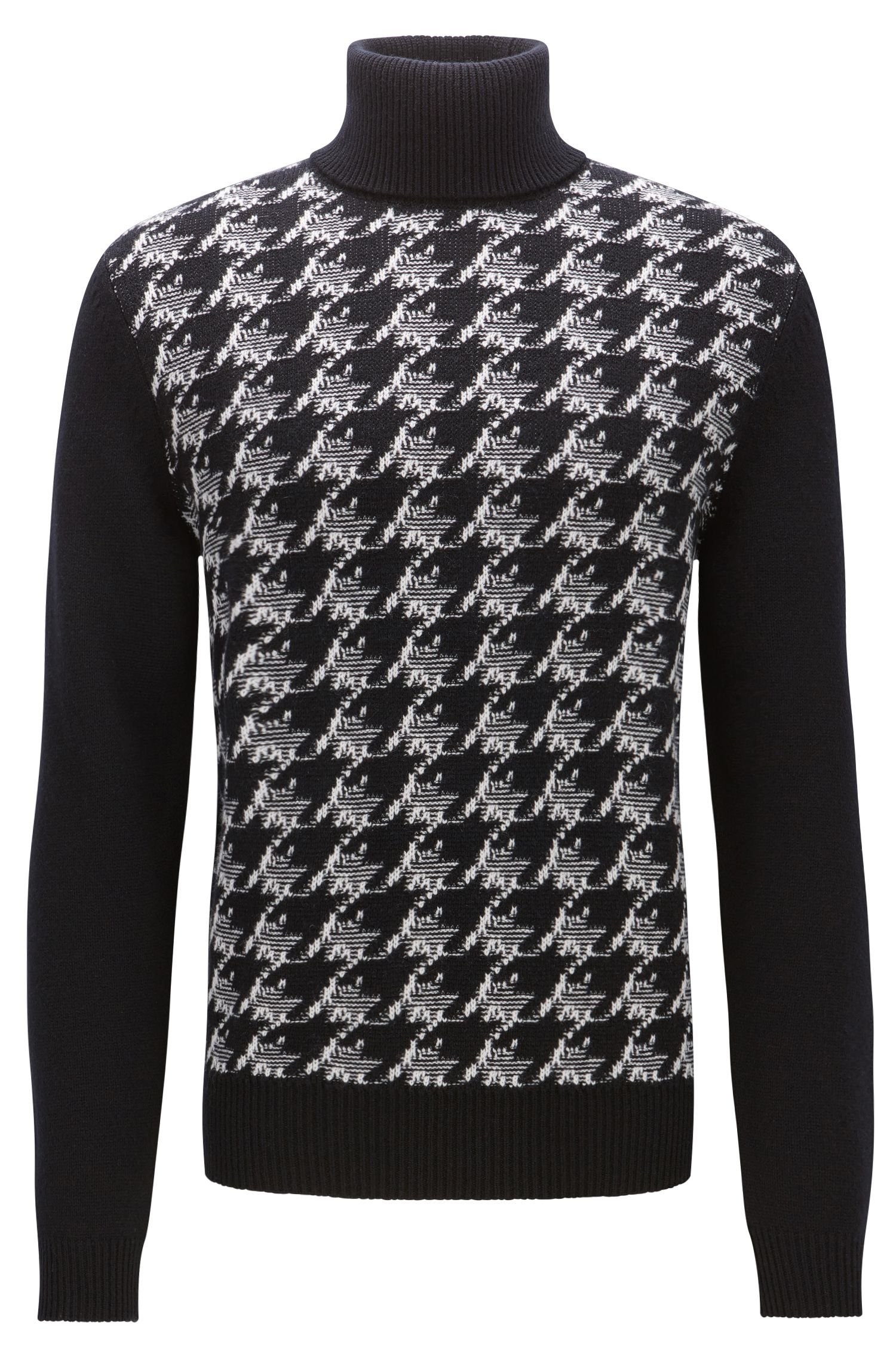 Houndstooth knitted jacquard turtle-neck sweater
