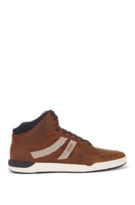 Sneakers high-top in pelle a effetto vissuto, Marrone