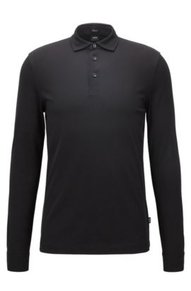 Regular-fit long-sleeved polo shirt in mercerised cotton piqué, Black