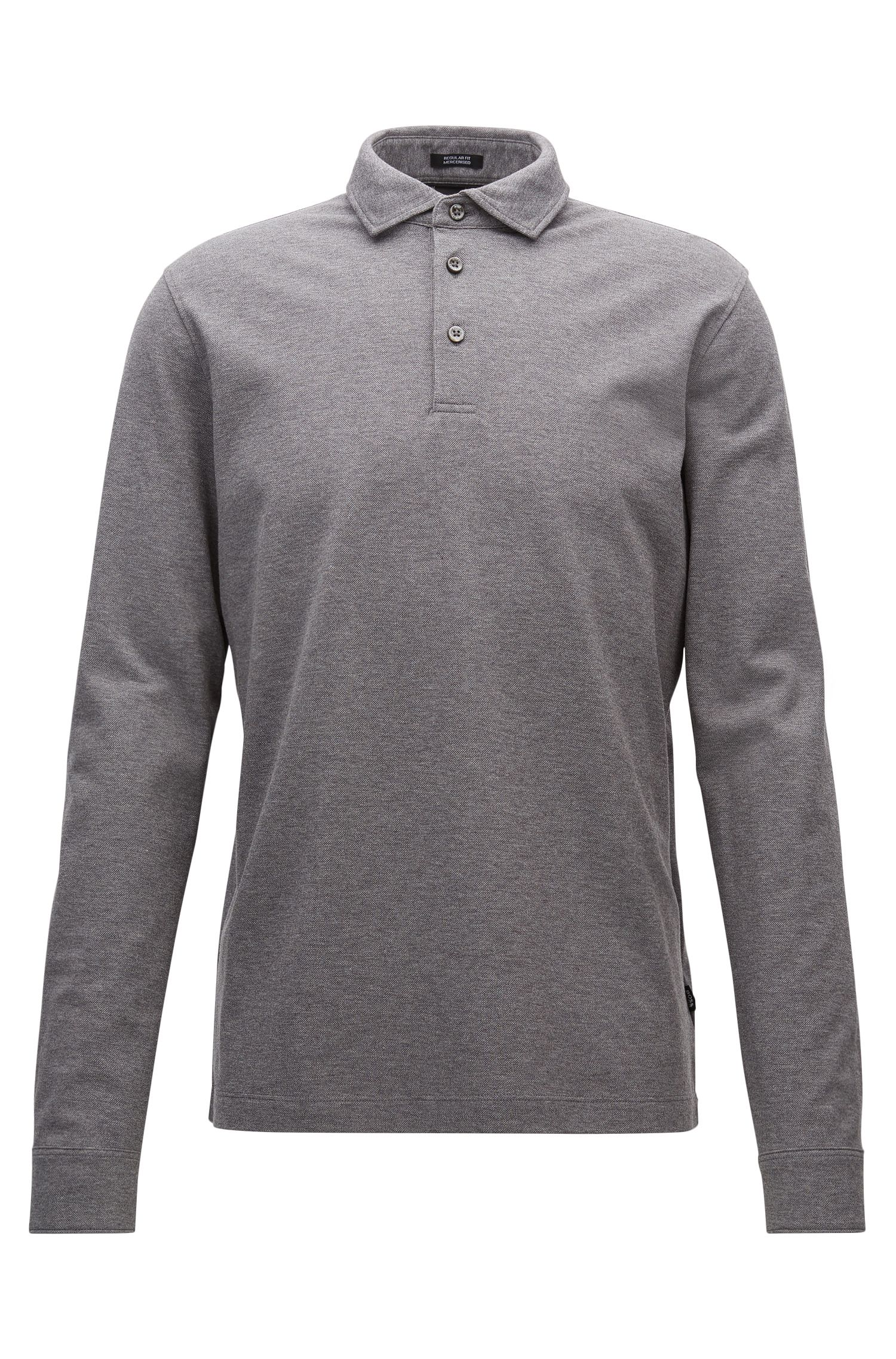 Regular-fit long-sleeved polo shirt in mercerised cotton piqué