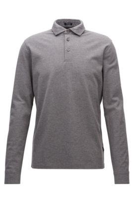 Regular-fit long-sleeved polo shirt in mercerised cotton piqué, Grey