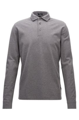 Regular-fit long-sleeved polo shirt in mercerised cotton piqué, Grey