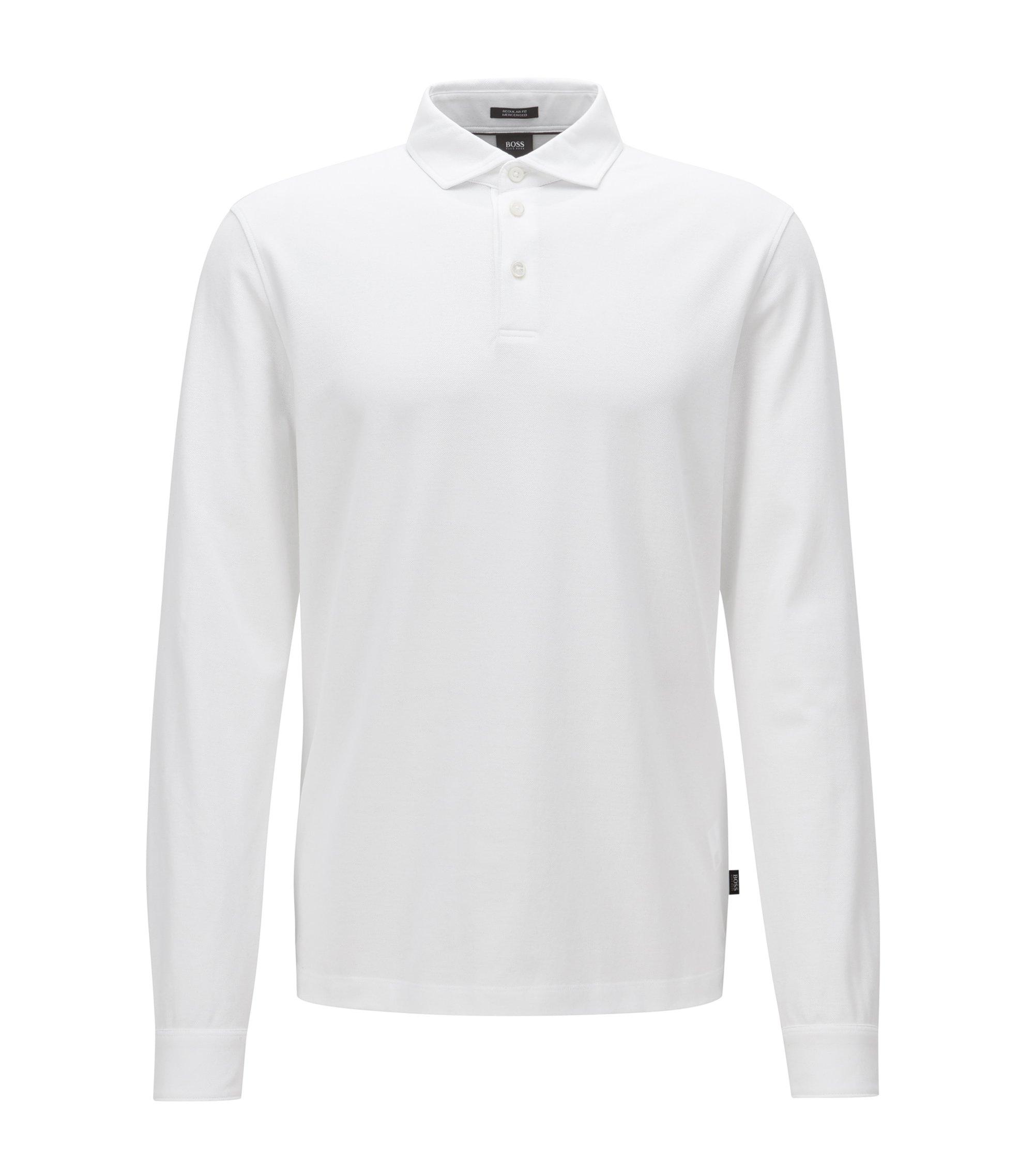 Polo regular fit a maniche lunghe in piqué di cotone mercerizzato, Bianco