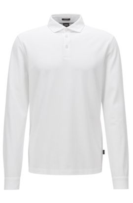 Polo regular fit de manga larga en piqué de algodón mercerizado, Blanco