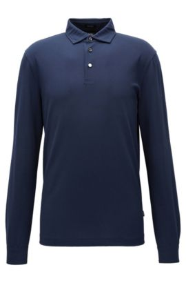 Regular-fit long-sleeved polo shirt in mercerised cotton piqué, Dark Blue